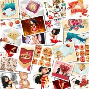 Векторный сборник клипарта ко дню Святого Валентина