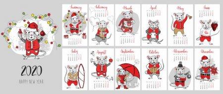 Новогодний календарь на 2020 год с крысами
